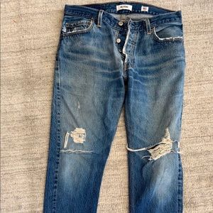 RE/DONE LEVI's straight skinny blue jeans